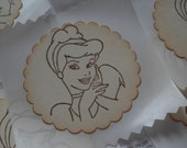 Disney Princesses - Cinderella Snow White Sleeping Beauty Ariel - Birthday Party Stickers or Tags - Vintage Inspired