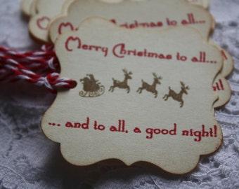 Vintage Style Gift Tags - Santas Sleigh and Reindeer on Christmas Night