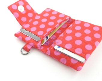 polka dot womens wallet. fabric credit card organizer. teen girl gift. pink red business card case