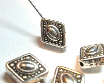 Patterned Diamond Pewter Beads Bali Style Antiqued Silver 11mm x 8mm - Qty 14