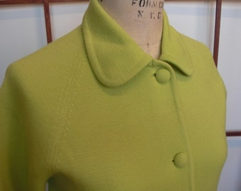 Vintage 60s  Chartreuse Wool Knit Jacket