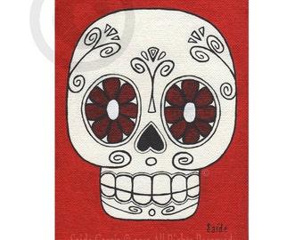 Day of the Dead Red Flower Eyes Skull Original Art PRINT 5x7 sugar skull