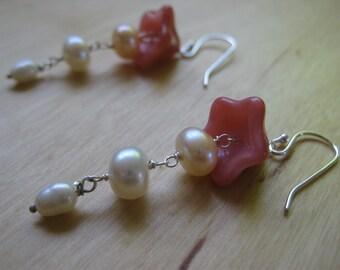 Insouciant Studios Pink Bellflower Earrings in Sterling Silver