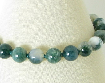 Bold Handknotted Moss Agate and Sterling Silver Bracelet