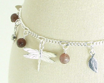 Lively Garden Indian Agate and Sterling Silver Charm Bracelet