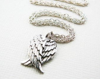 Angel Wings Pendant Necklace, Sterling Silver, 20 inch Chain, Oxidized