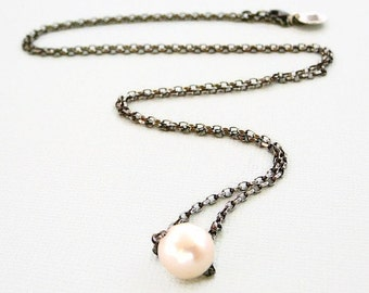 "Sterling Silver Necklace, Oxidized Long Freshwater Pearl Slider 25.5"", Cream, Antiqued"