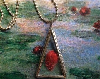 Red Feather,  hinged  Locket, Glass locket, Glass Pendant
