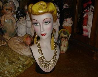 Vintage Style Mannequin Head Countertop Hat Jewelry Display
