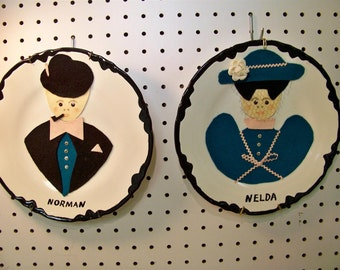 50's Kitchen Kitsch Folk Art Decorated Norman and Nelda Plates Wall Decor