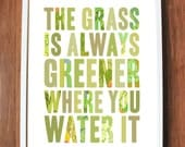 Inspirational wall decor with grass green, READY TO SHIP, Large