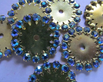 Vintage Swarovski Findings (4) Large Sapphire AB Red AB or Jonquil Wheel Beads