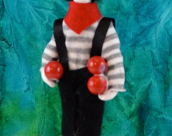 Mime Doll Miniature Art Collectible Harlequin Character