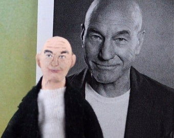 Patrick Stewart Fan Art Doll Miniature British Actor