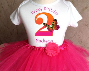 Pretty Monach Butterfly first 1st 2nd 3rd 4th 5th 6th 7th Birthday Personalized Custom Name Age Shirt Tutu Set Girl Outfit  headband
