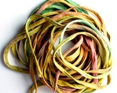 """SowZerE SRA  Falling Leaves  - Two Pure silk hand made and  dyed strings  (50"""" long approx. each string) for jewelry and craft -"""