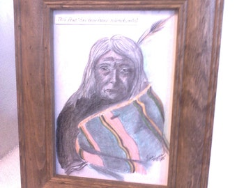 Native American inspired Indian man hand tinted print
