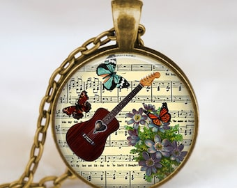 Guitar necklace , vintage guitar jewelry , guitar pendant , music notes necklace, handmade jewelry,music notes pendant, guitar player gift