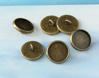 10 pcs antique bronze round button base - for 12mm round cabochons. BN315