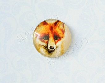 4pcs handmade fox dog round clear glass dome cabochons 25mm (250084)