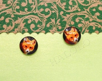 Sale - 10pcs handmade fox clear glass dome cabochons 12mm (12-1124)