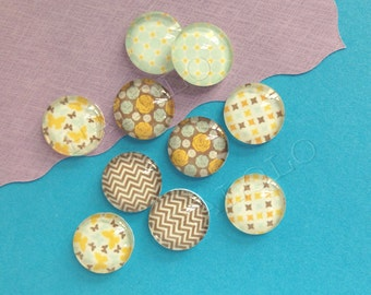 10pcs handmade assorted texture colorful round clear glass dome cabochons 12mm (12-0027)