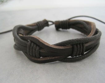 15%  OFF  Brown woven leather cuff - Wrap Bracelet