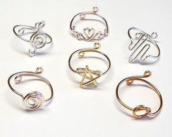 Rings, Knot Ring, Treble Clef Ring, Princess Heart Ring, Star Ring, Heart Beat Ring, Coil Ring, Adjustable Ring, Custom, Heart, Wire Jewelry