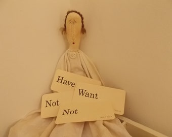 Have Not Want Not Vintage Flash Word Cards Home Decor Frame Altered Art Scrapbooking