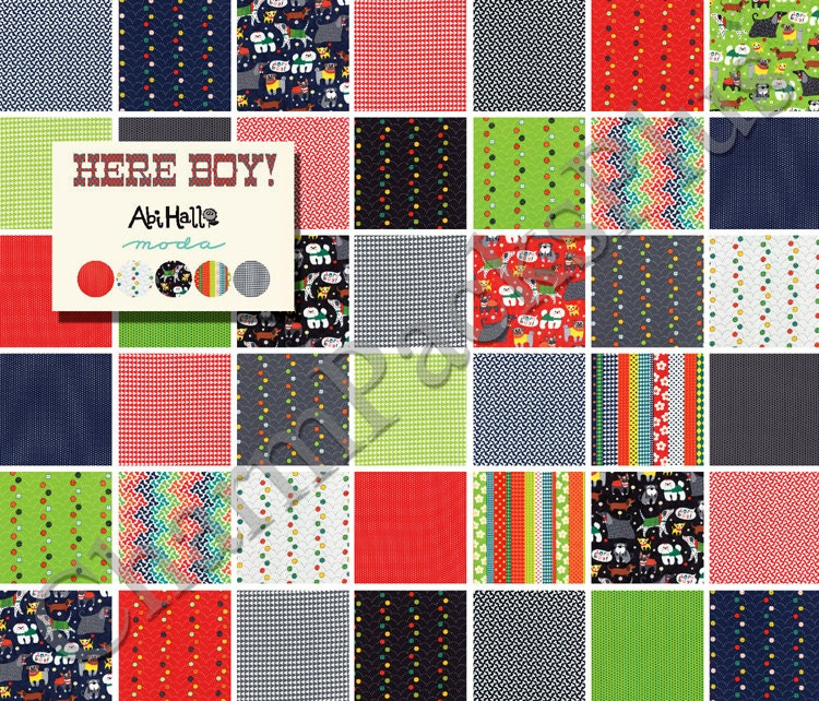 Here boy moda fabric charm pack five inch quilt squares for Boy quilt fabric