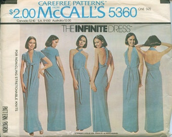 1976 McCalls Infinite Dress 5360 Sewing Pattern Vintage Easy to Sew One Size Fits Most UNCUT & Factory Folded