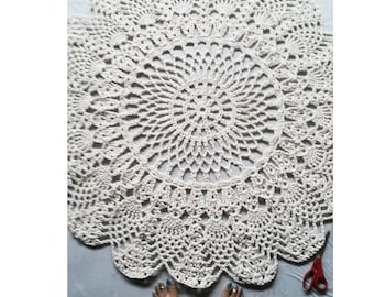 "Ecru Off White Cotton Crochet Rug in Large 48"" Circle Pineapple Lacy Pattern Non Skid"