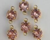Vintage Roseline Faceted Glass Stone 2 Loop Brass Setting Drops 7mm (6) rnd001PP2