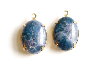 Vintage Grey Blue Marbled Glass Stones 1 Loop Brass Setting 18x13mm ovl003YY