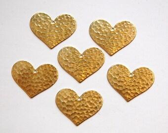 1 Hole Raw Brass Hammered Heart Charm Pendant (6) mtl100E