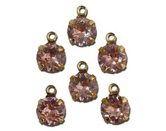 Vintage Roseline Faceted Glass Stone 1 Loop Gold Setting Drops 7mm (6) rnd017PP