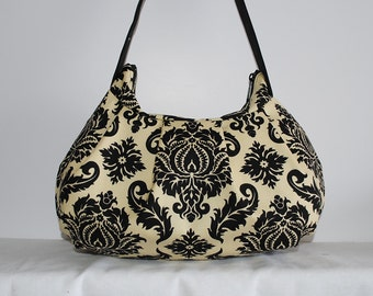 Pleated Bag // Shoulder Purse - Damask in Cavern
