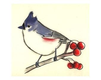 Bird Wall Art - Bird Art Print - Bird Artwork - 4 for 3 SALE - Titmouse bird 4 X 6 print