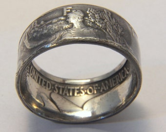 Silver coin ring year 1942  Walking Liberty you pick size 9 to 14 great coin collector gift