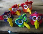 set of 5 silly bird mask