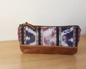 Ikat and Leather Pencil Case // no. 4