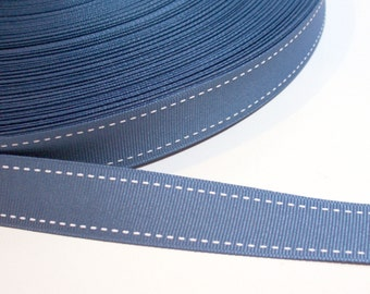 Blue Ribbon, Dusty Blue Saddle Stitch Grosgrain Ribbon 1 inch wide x 5 yards SECOND QUALITY FLAWED