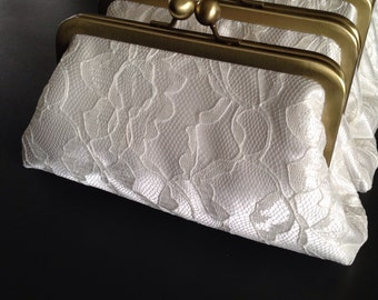 Personalized Bridesmaids Gifts - White Lace Clutches