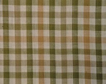 Cotton Homespun Fabric Sage And Wheat Large Check 59 x 44