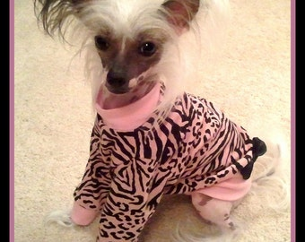 Dog Clothing Tee Shirt Dress Chinese Cresteds To Order Your Choice of Zebra Colors and Print