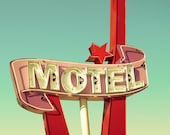 Mid century decor, Vintage motel sign, scarlet, star, pale pink, neon sign, beach, violet, Jersey shore, guest room decor, mid century