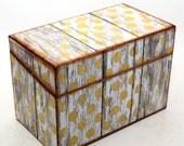 Wood Recipe Box Barn Wood Yellow and White Polka Dots Fits 4x6 Recipe Cards