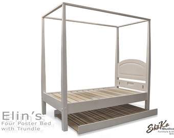 Elin's Snow White Platform Four Poster Canopy Bed with Trundle | Twin | Solid white