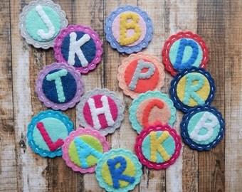 Monogram Alphabet - Coral and Mint Wool Felt - set of 8