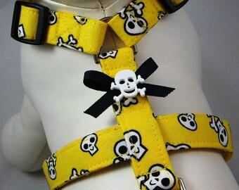 Dog Harness - Yellow Skull & Crossbones